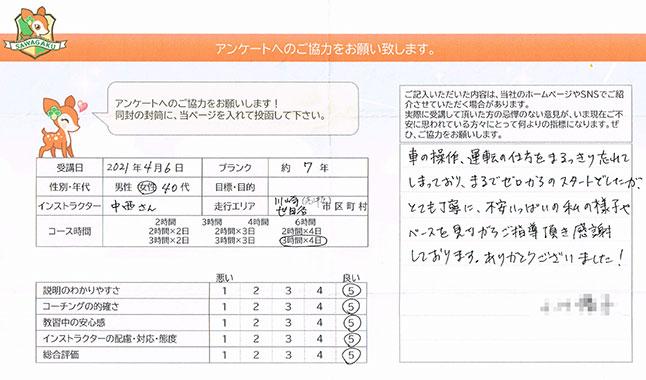 川崎市高津区・世田谷区 40代女性 ペーパードライバー講習アンケート