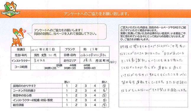 神奈川県横浜市緑区 30代女性 ペーパードライバー講習アンケート
